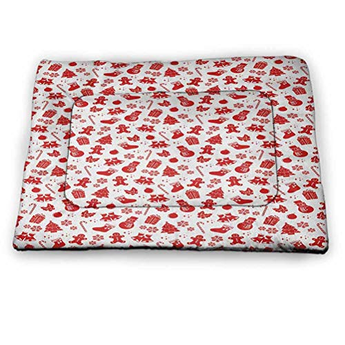 "prunushome Dog Bed Kennel Pad Christmas Punny Dogs Sofa Sleeping Xmas Tree Gingerbread Cookie Jingle Bells Snowflakes and Candy Cones Artwork for Pets Sleeping Red and White (23""x15.5"")"