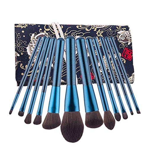 Voyages Pinceaux De Maquillage Set, Beauté Synthétiques Micro Fibre Vegan Makeup Brushes Kit Cadeau Blending Poudre Fard à Paupières Poudre Liquide-12PCS