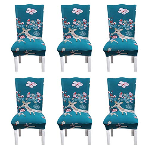 Xisheep??Shipped from the United State 6Pcs Comfortable Stretch Milk Silk Print Pattern Family Party Seat Cover