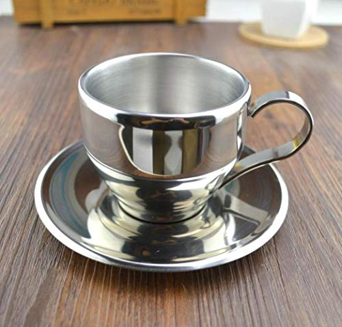 COPP Fashion Stainless Steel Double Layer Coffee Cup Set Flower Tea Cup Tea Cup Espresso Bother mug Coffee mug,100ml