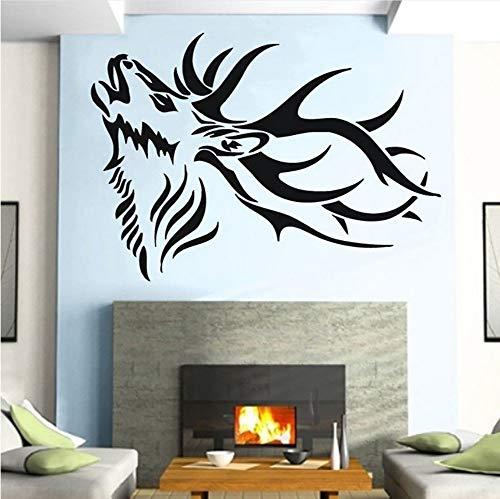 wuyii 57x40 cm dier, natuur, wandsticker, hertshoorn, tribal, kamerdecoratie, vinyl, sticker, woonkamer, decoratie, wandfoto C