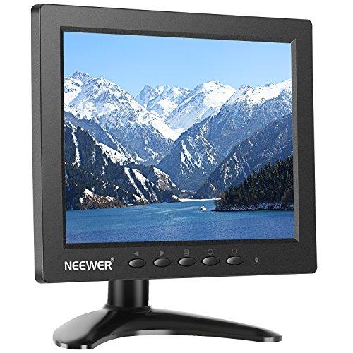 Neewer NW801H Monitor de 8 pulgadas con pantalla TFT-LCD 4:3 resolución 1024 x 768, contraste 500:1, entrada de audio HDMI VGA BNC AV, altavoz integrado para cámara DSLR, PC, CCTV, DVD y cámara de respaldo de coche