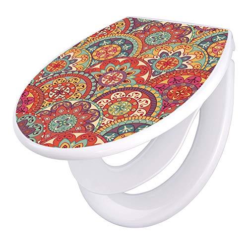banjado Familien WC Sitz mit Absenkautomatik   Toilettendeckel mit Kindersitz   Klodeckel weiß   Toilettensitz mit Soft Close   44 x 37 cm WC Deckel mit Motiv Rosetten