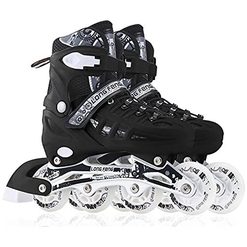 YANHUIGANG Inline Skates Für Kinder Und Herren Damen, 8 LED-Blinkräder, 31-46 Einstellbare Schuhgröße, ABEC-7 Lager, Doppelt Schuhkopf Kann die Zehen Besser Schützen (schwarz, L 39-42)