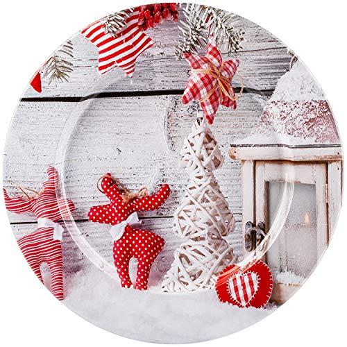 alles-meine.de GmbH großer Teller / Platzteller / Plätzchenteller / Geschenketeller - Motivwahl - Weihnachten - Ø 28 cm - rund - Unterteller - Mehrweg - Weihnachtsteller / Kekste..
