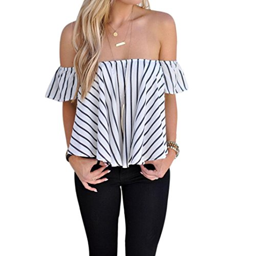 Lisingtool Women's Off Shoulder Stripe Casual Blouse Shirt Tops (S, White)