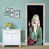 Pegatinas de puerta 3D Etiqueta engomada de la puerta del arte de la impresión DIY Renovación Marilyn Monroe Movie Mural Imagen impermeable Autoadhesivo Nueva decoración del hogar Dormitorio90x200cm