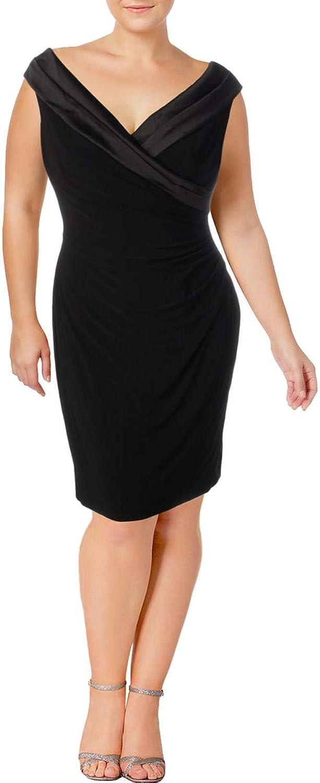 Lauren Ralph Lauren Womens Satin Collar Surplice Cocktail Dress