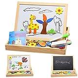 (ミネセンム)Minesam 幼児 木製おもちゃ カワイイ動物柄 知育玩具 画板とジグソパズル 両用性 子供 楽しく遊び 木製玩具