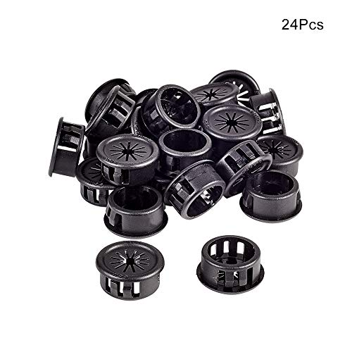 Fielect EHR-19 Black Nylon Snap in Cable Hose Bushing Grommet Protector Cable Hose Snap Locking Bushing Protective Grommet 25Pcs