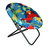 Saucer Chair Moon Chair Cover Super Soft (Tie Dye Colorful) Round Chair Cover – Premium Saucer Chair Cover Stretchy and Lightweight Papasan Cover Replacement Designed for Seats 28-31-inch x 29-33-inch