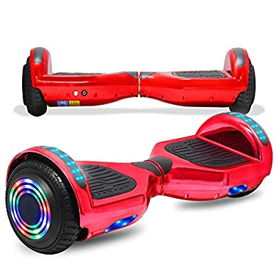 "CHO POWER SPORTS 6.5"" Wheels Hoverboard Safety Certified Hover Board Electric Self Balancing Scooter with Built in Speaker Flashing LED Lights Wheels (Shiny RED)"