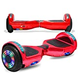 CHO POWER SPORTS 6.5' Wheels Hoverboard Safety Certified Hover Board Electric Self Balancing Scooter with Built in Speaker Flashing LED Lights Wheels (Shiny RED)