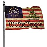 HUIHUANGm We The People Don't Tread On Me Betsy Ross 1776 Gadsden American Flag Banner Flags Garden Flag Home House Flags Outdoor Flag USA Flag 4x6 Ft