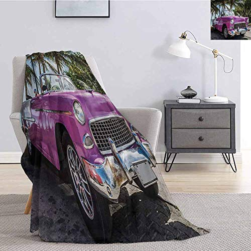 Cars Rugged or Durable Camping Blanket Classic Colored Cabriolet Car Parked on The Beach in Cuba Seaside Exotic Trees Print Warm and Washable W60 x L70 Inch Violet Green