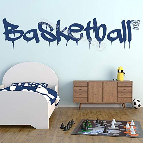Blrpbc Pegatinas de Pared Adhesivos Pared Cita de Baloncesto Deportes Logotipo de Baloncesto y Marco de Pelota Decoración Interior de la casa Mural de Dormitorio Infantil para niños 170x41cm
