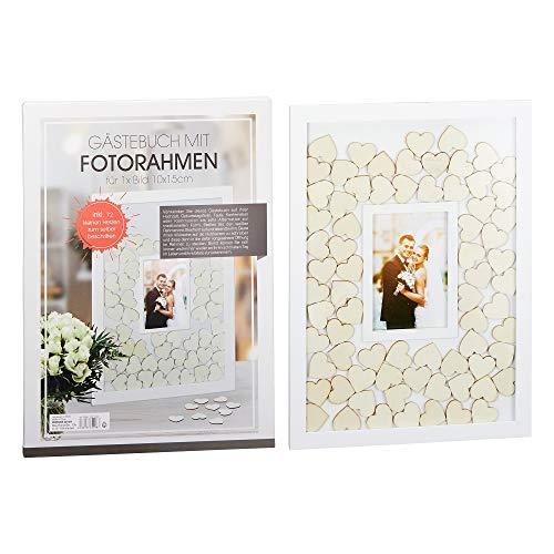 Roomando Gästebuch aus Holz Holzgästebuch Bilderrahmen 72 Herzen Hochzeit Geburtstag Taufe Konfirmation