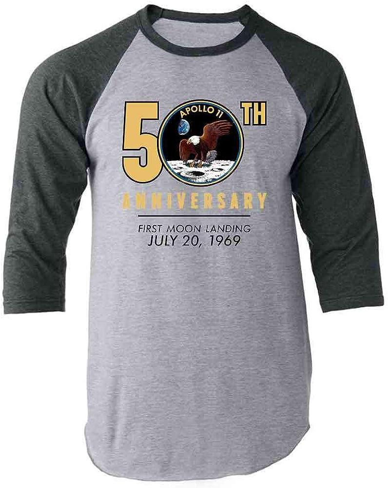 NASA Approved Apollo 11 Moon Landing 50th Gray 2XL Raglan Baseball Tee Shirt