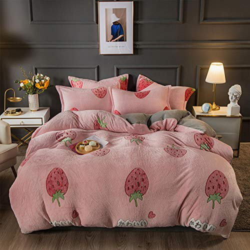 double bed sheets and duvet cover,Coral velvet four-piece simple French velvet double-sided plus velvet bed sheet milk velvet bedding-Jade strawberry_1.5m (5 feet) bed