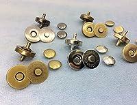 10個入 マグネットホック 両面カシメ式 厚型 直径18mm マグネットボタン 頭直径12mm 薄金色