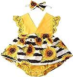 Newborn Infant Baby Girl Romper Tutu Vestido Floral Flutter Lace Sunflower Sandía de la sandía de la Funda de la Manga del Mono Diadema (Color : Yellow, Size : 12-18 Months)