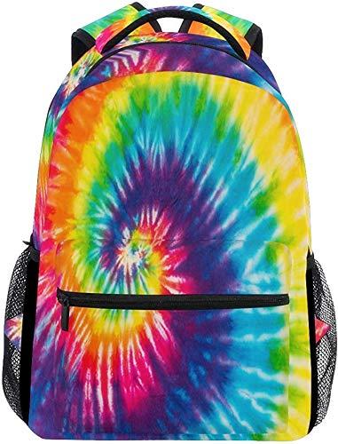 Wamika Red Tartan Plaid School Backpack Waterproof Shoulder Bookbag, Color2, Tie Dye, 11.5X8X16 IN