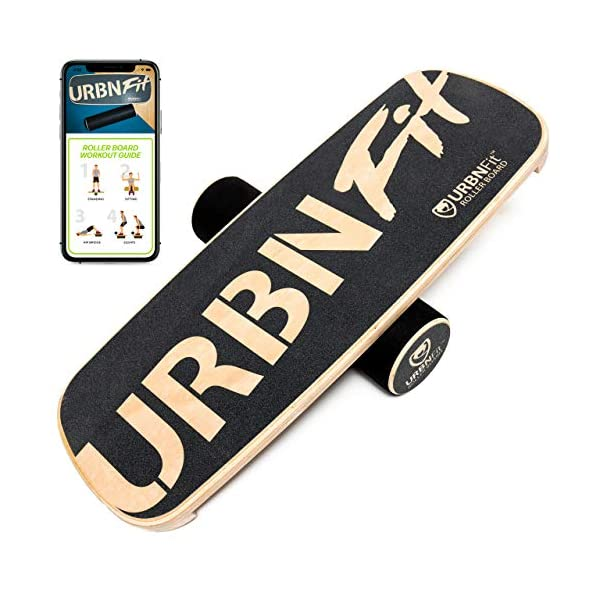 URBNFit Wooden Balance Board Trainer – Roller Board for Snowboard, Surf, Hockey Training & More -Balancing Exercise Fitness Equipment