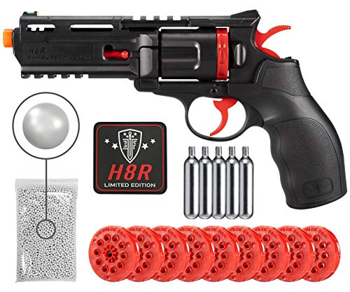 Wearable4U Umarex Limited Edition - BLK/RED H8R w/10mags/Custom Patch CO2 Airsoft BB Airgun with 5X 12gr CO2 Tanks Pack of 1000 6mm EF BBS Bundle