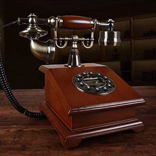 Samanthaa Retro phone Telephone Old-fashioned Solid Wood Landline Living Room Study Retro Decorative Ornaments Home Office Phone (Color : A)