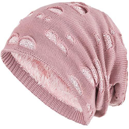 Compagno Mütze Damen Wintermütze mit Pailletten warm gefütterte Beanie Strickmütze Hat Haube Einheitsgröße, Farbe:Rose