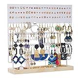 Porta-orecchini, espositore per orecchini, orecchini e orecchini lunghi, con ripiano in legno, 144 fori, bianco