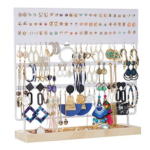 Organizador de pendientes, soporte para joyas y pendientes, expositor de pendientes, expositor para pendientes, pendientes y pendientes largos con estante de madera, 144 agujeros, color blanco