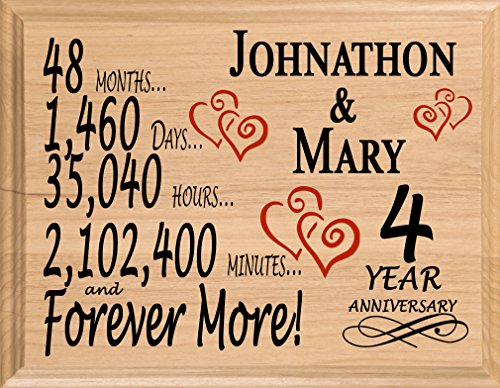 Broad Bay 4th Personalized 4 Year Anniversary Wedding Gift for Wife Husband...