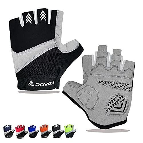 ROVOS Bike Gloves Men & Women Cycling Gloves Bicycle Gloves Bicycling Gloves Half Finger Breathable Mountain Sports MTB Road Biking Gloves (Black,Large)