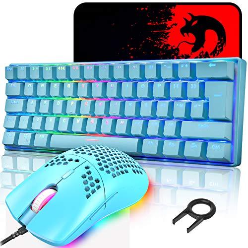 UK Layout 60% mechanische Gaming-Tastatur, Blauer Schalter, Mini-62 Tasten, kabelgebunden, Typ C, RGB Hintergrundbeleuchtungseffekte + leichte optische RGB-Maus mit 6400 DPI + großes Mauspad - Blau