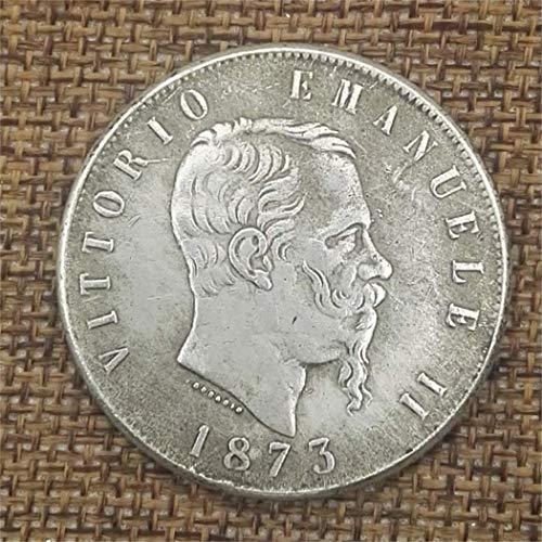 YunBest 1873 Moneda de Plata Italiana, Moneda Conmemorativa de Italia, colección de Monedas Antiguas, dólar de Plata Italiana, Antiguo dólar premorgan Original, Monedas sin circulación BestShop