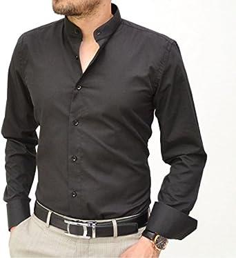 Camisa italiana con cuello mao, negra negro M: Amazon.es: Ropa