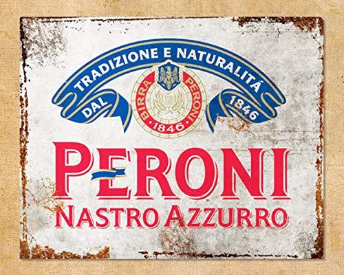XunYun Peroni Nastro Azzurro Lager - Cartel de metal para publicidad, bar, pub, cueva, cobertizo, rústico, desgastado, oxidado, 30 x 20 cm