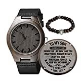 Engraved Wooden Watch for Men,Natural Wooden Watch for Husband Son Natural Ebony Customized Wood Watch Birthday Anniversary Gift (for Son from Dad)