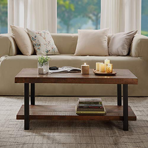 HUAYICUN Idustrial Coffee Table with Storage Shelf for Living Room, Solid Wood Tabletop & Metal Legs Cocktail Table Easy Assembly Retro Style