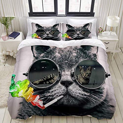 Funda nórdica, Cool Cat Wear Gafas de Sol para Fumar Tie Dye Rainbow, Juego de Ropa de Cama Juegos de Microfibra de Lujo Ultra cómodos y Ligeros (3 Piezas)
