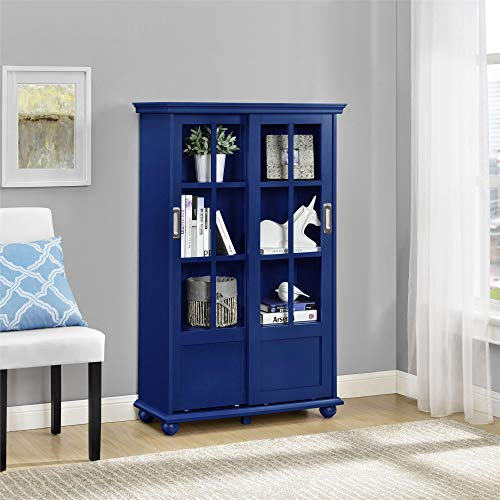 Ameriwood Home Aaron Lane Bookcase with Sliding Glass Doors, Blue