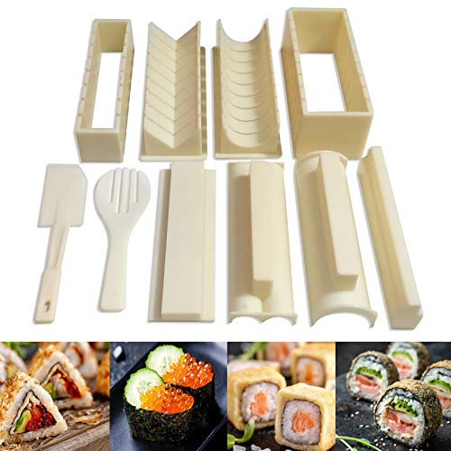 CAMITLLI Sushi Making Kit Deluxe Edition 10 Pieces Plastic Sushi Maker For Beginners with 8 Sushi Rice Roll Mold Shapes DIY Home Sushi Tool 8x Sushi Molds 1x Spatula 1x Serving Fork User Guide