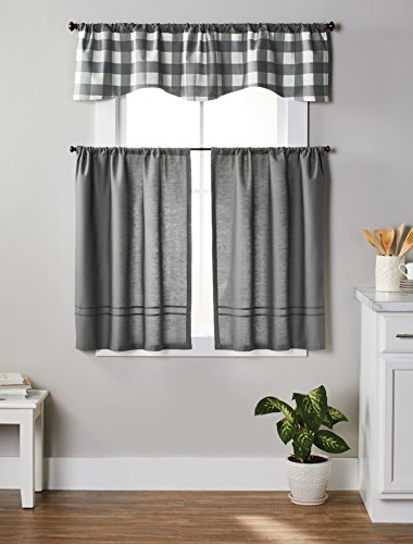 Domestic Home Gray Off White Modern Country Farmhouse Gingham Buffalo Checks Reversible Kitchen Curtains Set Tiers & Valance