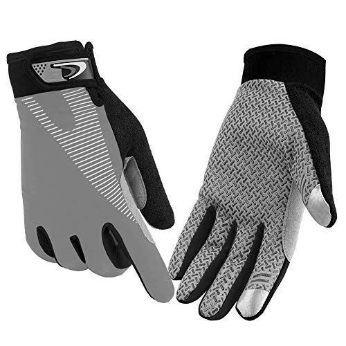 CFTech Cycling Gloves Touchscreen Ultimate Frisbee Gloves Non-Slip Flexible Thin Workout Gloves for Men Women (Grey, L)