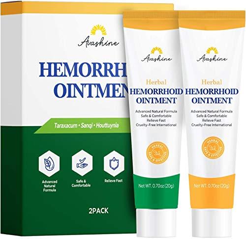 Chinese Herbal Hemorrhoid Cream Piles Treatment Ointment & Fissure Gel, Multi-Symptom Itching, Bleeding, Swelling, Burning Discomfort 2 pcs
