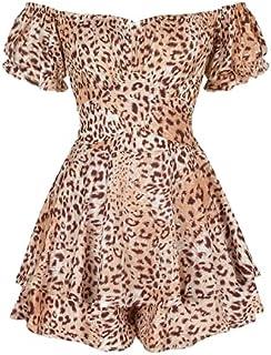 Bienwwow - Mini abito da donna casual con stampa floreale a maniche corte (FKAM004,L)