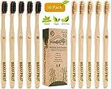 Cepillo Dientes Bambu, Paquete de 10 Cepillos de Dientes, 5 cepillo de carbón bambú y 5 cepillo de fibra bambú, 100% Libre de BPA, Cepillos de...