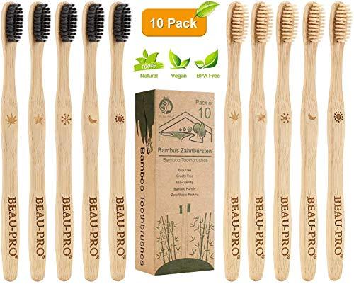 Cepillo Dientes Bambu, Paquete de 10 Cepillos de Dientes, 5