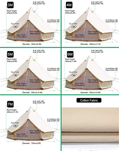 Sporttent Camping 4 Season Waterproof Cotton Canvas Bell Tent with Stove Hole and Cable Hole 5
